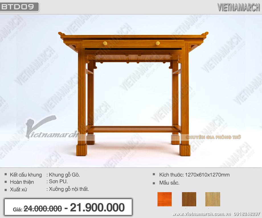 Mẫu bàn thờ đứng hiện đại chuẩn phong thủy.