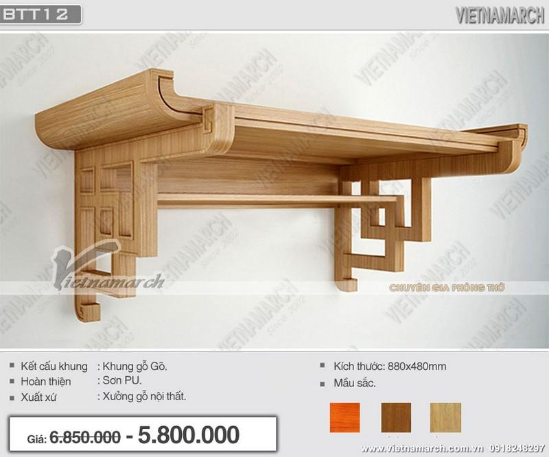 Mẫu bàn thờ treo tường đẹp hiện đại khung gỗ gõ với các đường chạm khắc tỉ mỉ, tinh tế kết hợp phần ngăn đẹp mắt