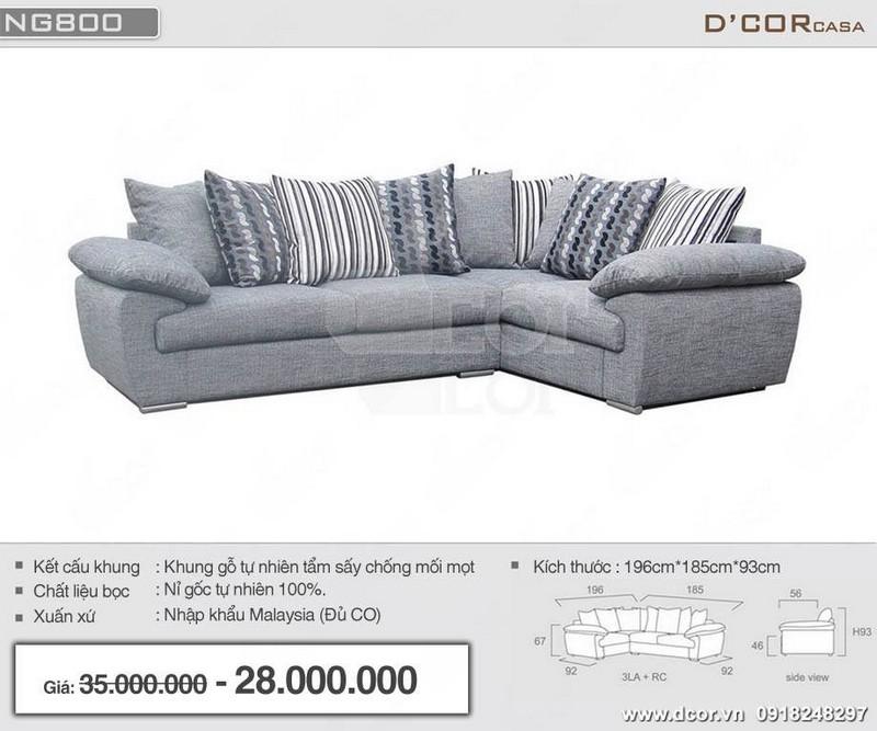 Mẫu sofa góc cho phòng khách nhỏ hẹp chất liệu nỉ nhập khẩu Malaysia màu xám nhã nhặn