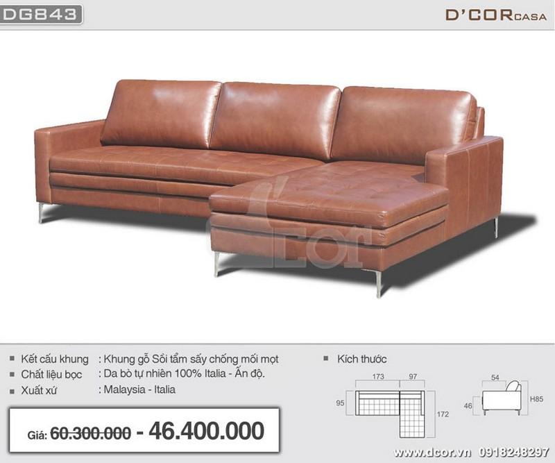 Mẫu sofa góc cho phòng khách nhỏ hẹp chất liệu da bò tự nhiên sang trọng, hiện đại