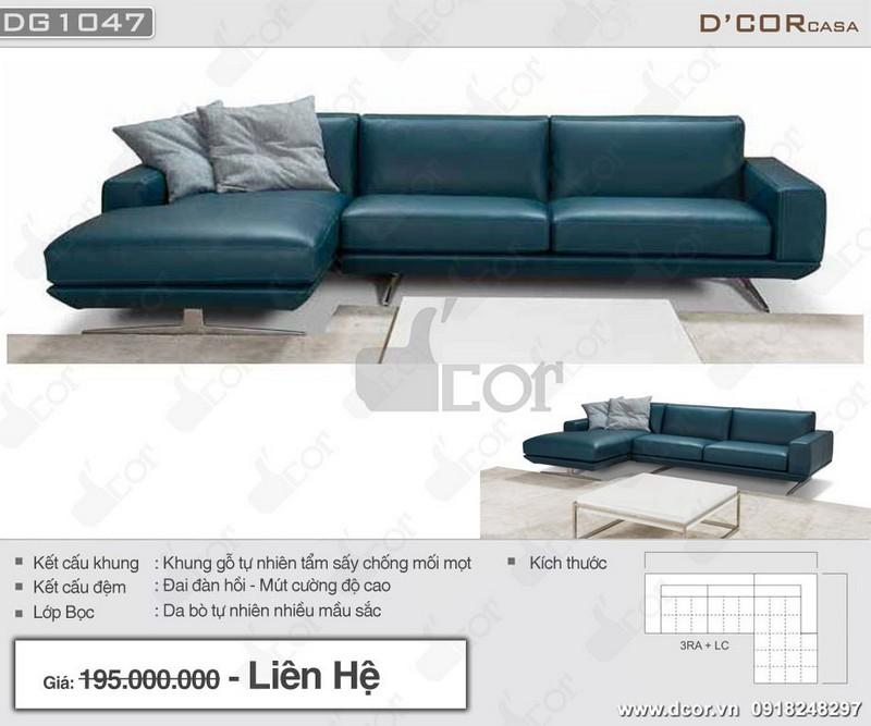 Mẫu sofa góc cho phòng khách nhỏ hẹp làm bằng da tự nhiên với màu xanh độc đáo