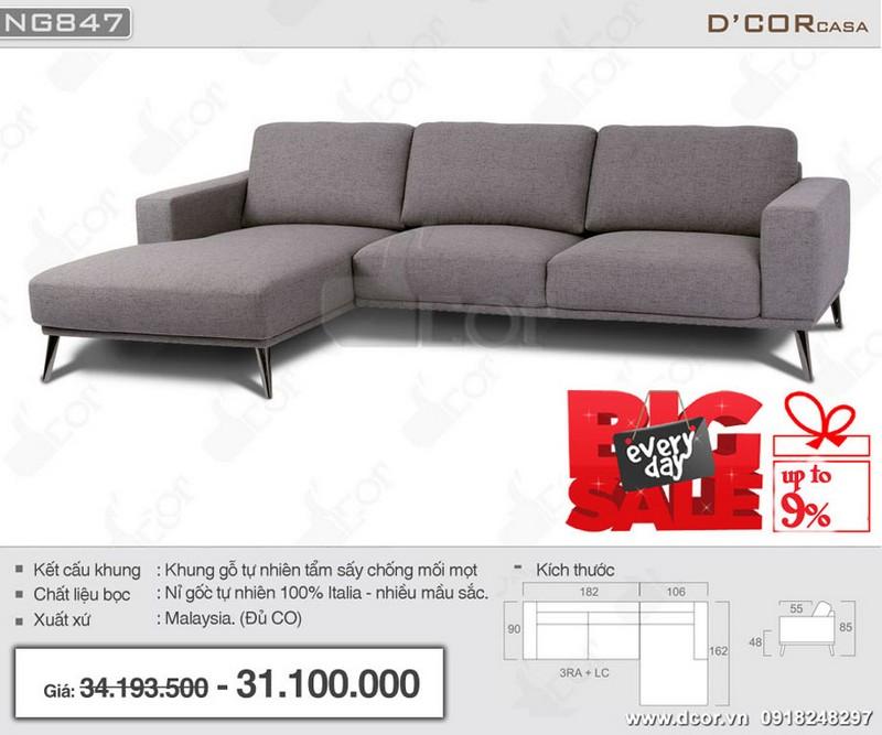 Mẫu sofa góc cho phòng khách nhỏ hẹp nhập khẩu Malaysia chất liệu nỉ sang trọng