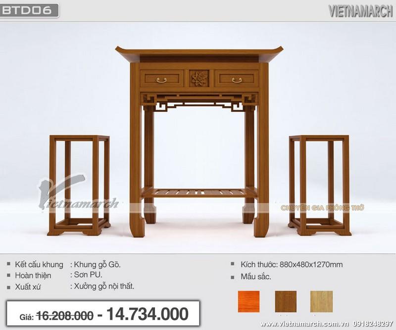 Mẫu bàn thờ đứng hiện đại khung gỗ gõ