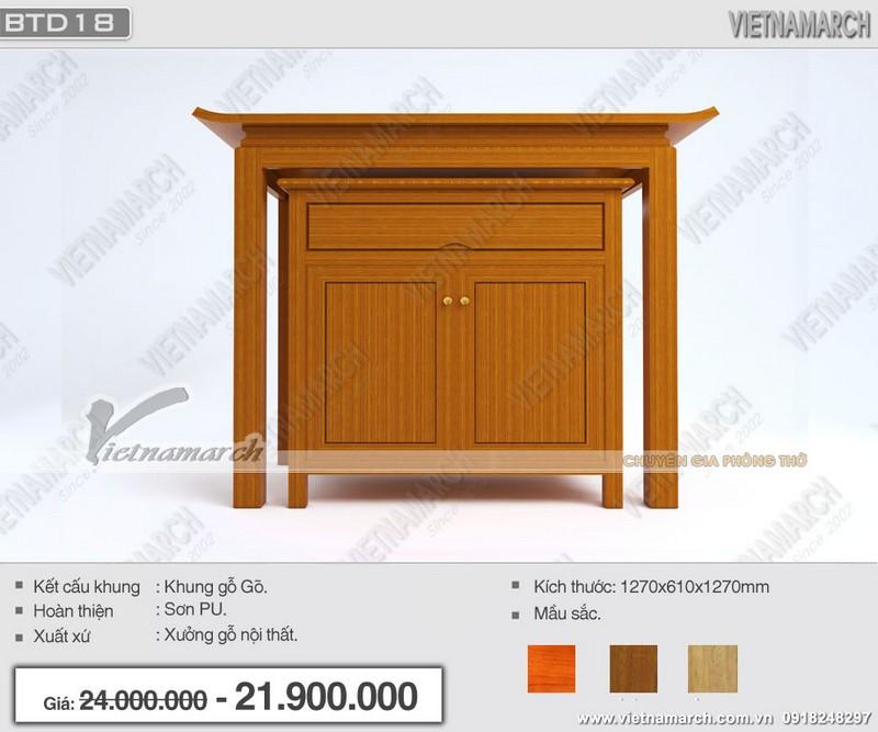 Mẫu bàn thờ đứng hiện đại kèm tủ