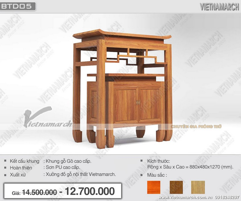 Mẫu bàn thờ đứng hiện đại có kèm tủ