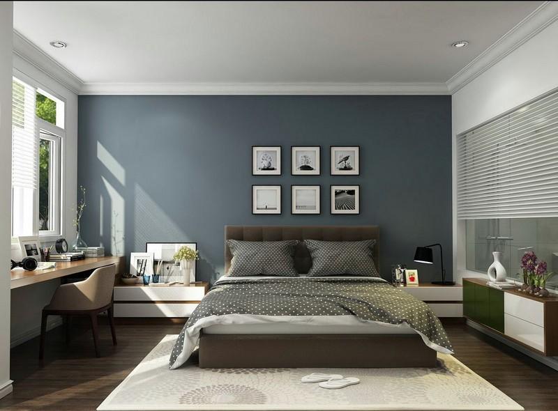 Mẫu trần thạch cao phòng ngủ vợ chồng nhà biệt thự dạng phẳng