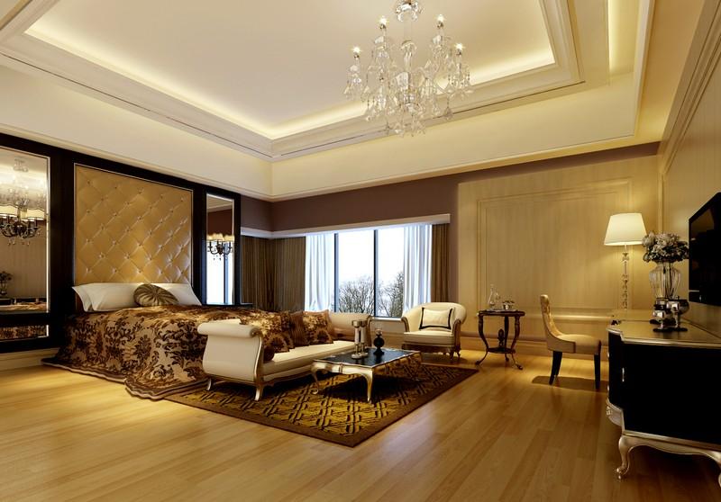 Mẫu trần thạch cao phòng ngủ vợ chồng nhà biệt thự phong cách tân cổ điển