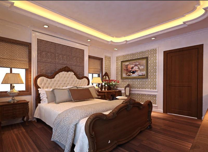 Mẫu trần thạch cao phòng ngủ nhà biệt thự dạng giật cấp phong cách tân cổ điển