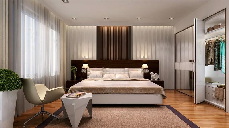 Mẫu trần thạch cao phòng ngủ nhà biệt thự hiện đại