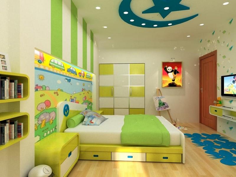 Mẫu trần thạch cao phòng ngủ trẻ em nhà biệt thự hình trăng sao