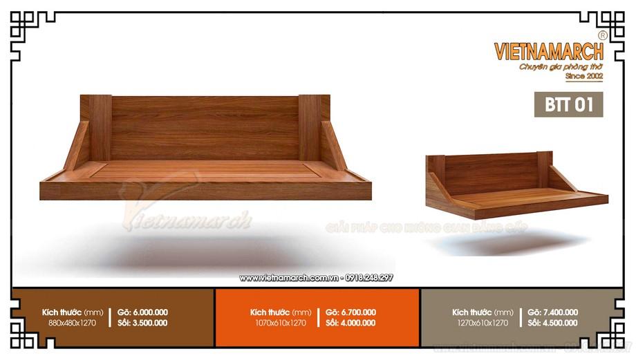 Mẫu bàn thờ treo tường đơn giản hiện đạiBTT 01 đẹp cho mọi nhà