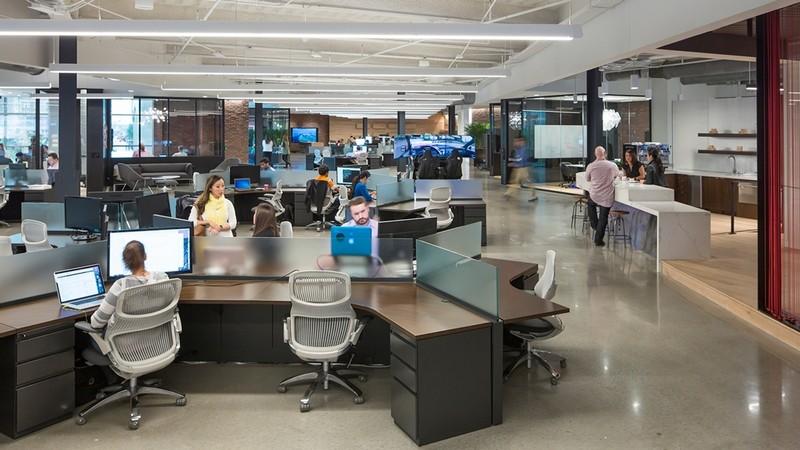 Mẫu thiết kế nội thất văn phòng không gian mở chuyên nghiệp