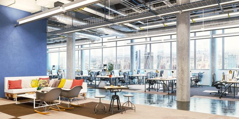 Mẫu thiết kế nội thất văn phòng dạng văn phòng mở phong cách công nghiệp