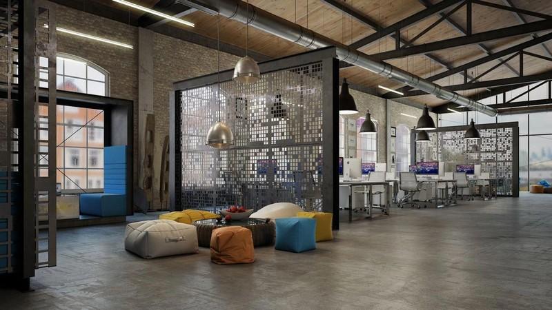 Mẫu thiết kế nội thất văn phòng phong cách công nghiệp ấn tượng